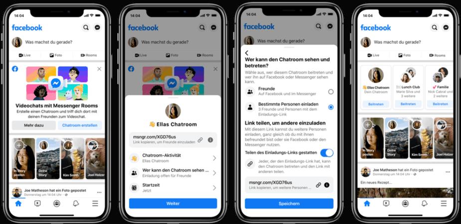 Ansicht wie Facebook Messenger Rooms aussehen wird