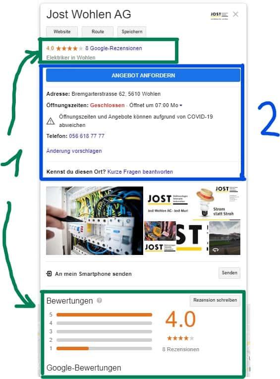 Google my Business Dartstellung von Jost AG in Wohlen