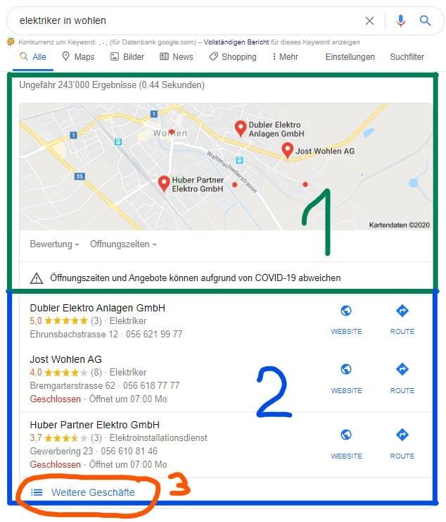 Bild der Resultate für Suchanfrage bei Google