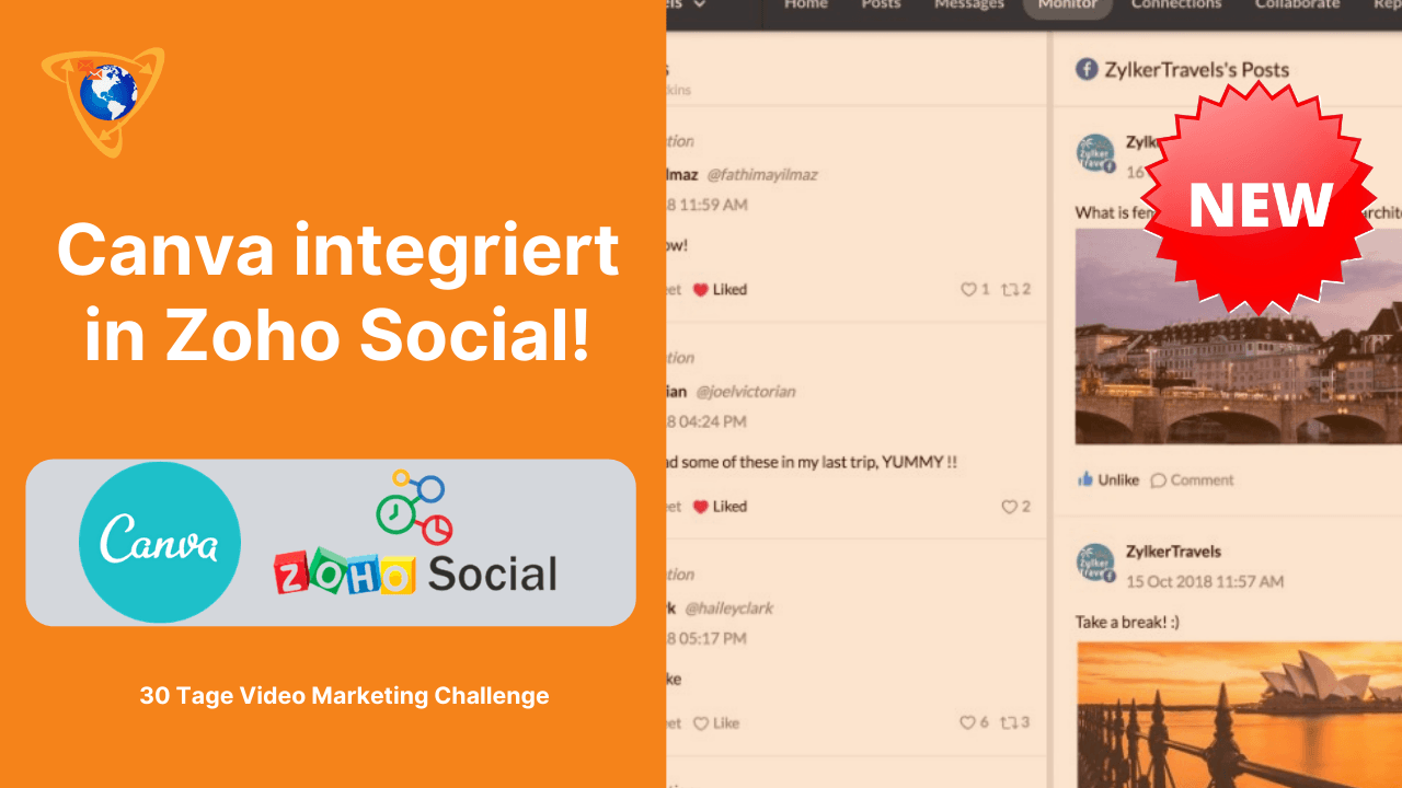 Canva Button integriert in Zoho Social