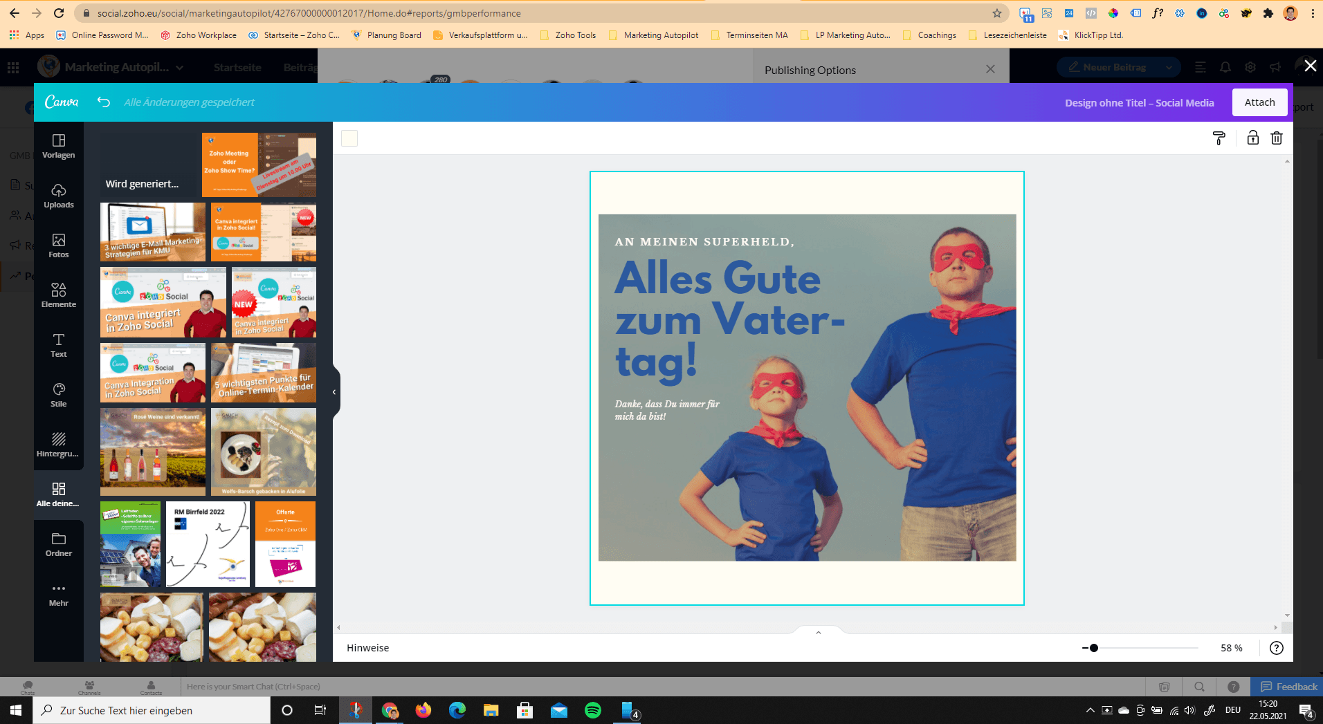Canva Button Ansicht in Zoho Social