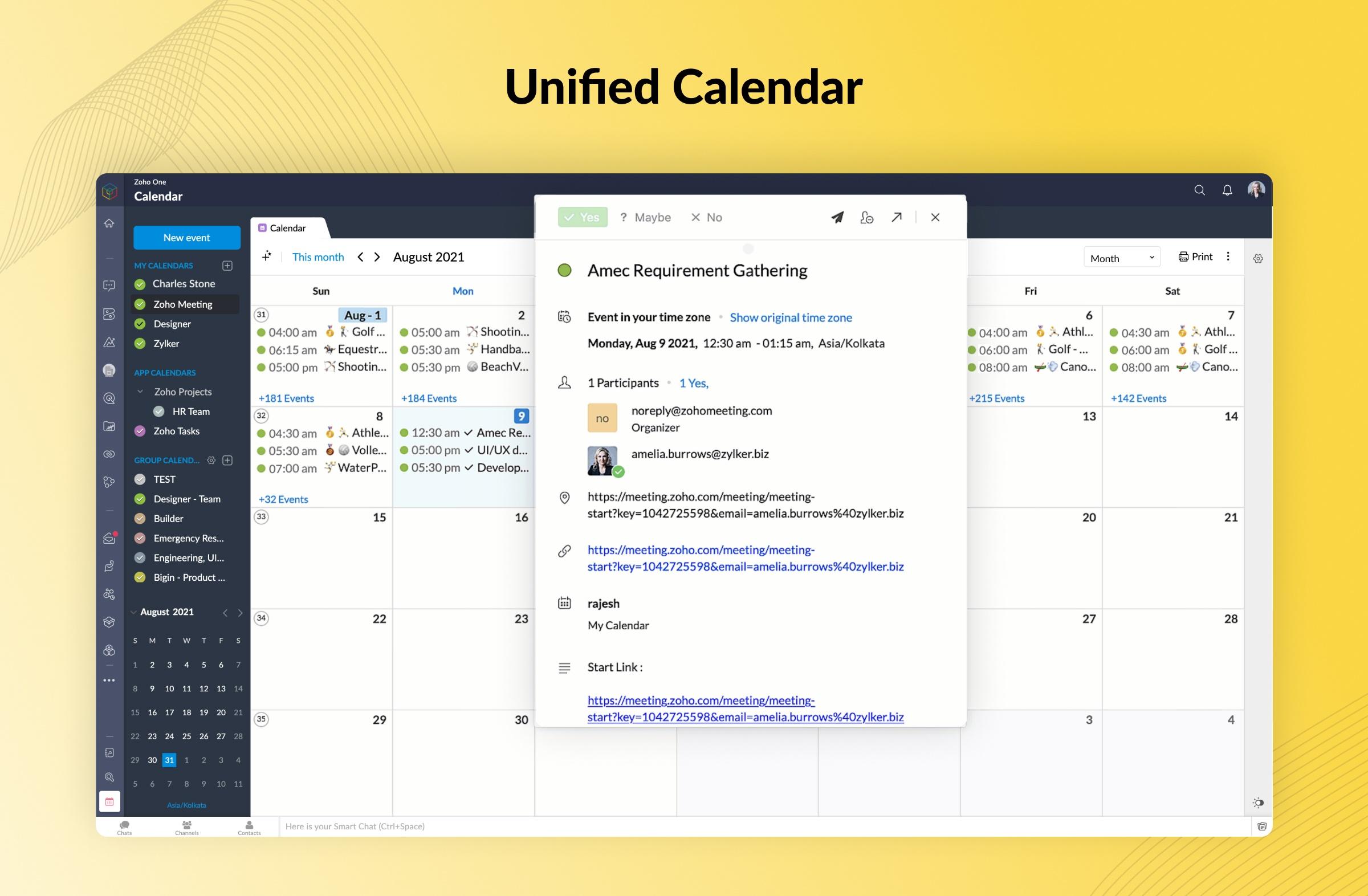 Der neue einheitliche Kalender auch mobil abrufbar in Zoho One 21
